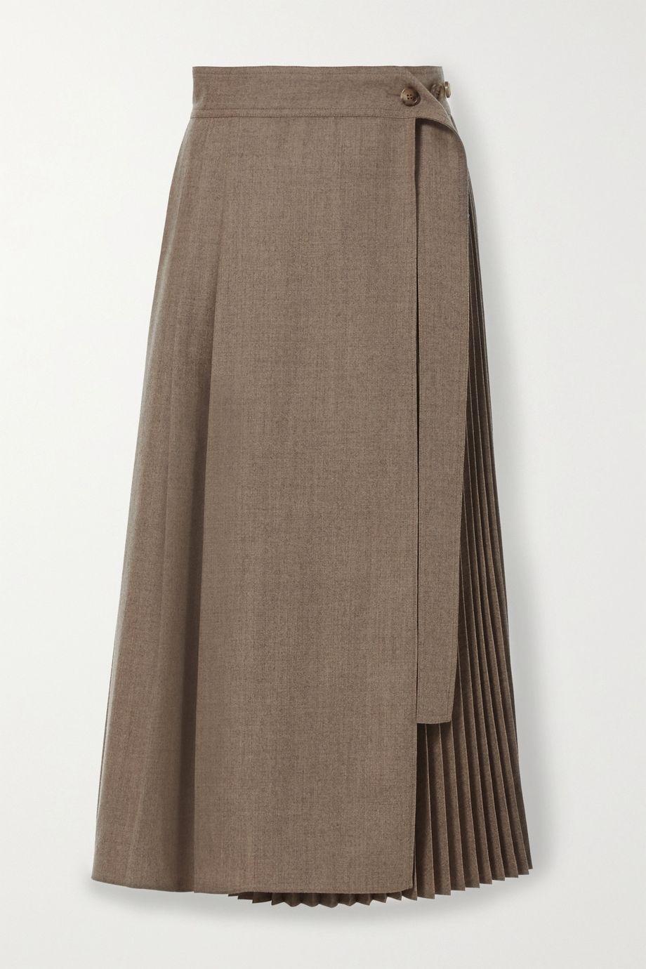 LVIR Pleated wrap wool midi skirt