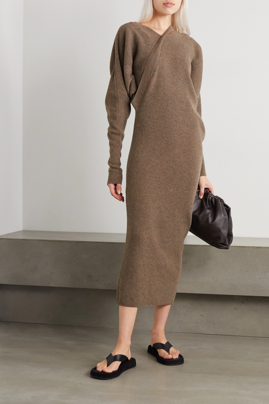 LVIR Asymmetric ribbed merino wool and cashmere-blend midi dress