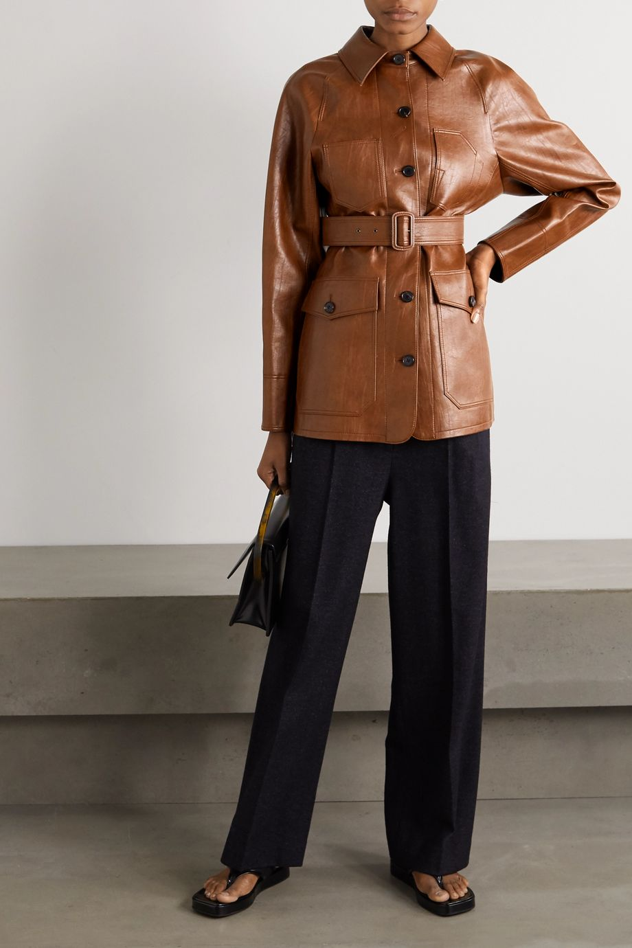 LVIR Belted faux leather jacket