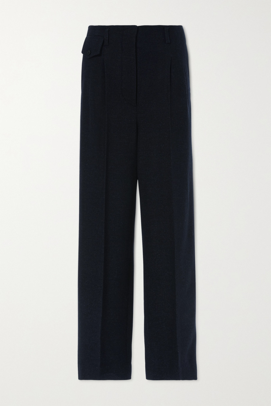 LVIR Pleated herringbone wool-blend wide-leg pants