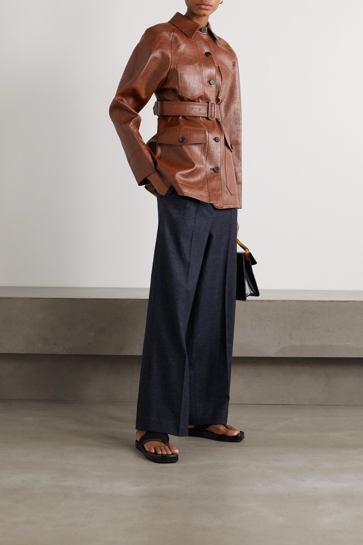 LVIR Pleated herringbone wool-blend wide-leg pants