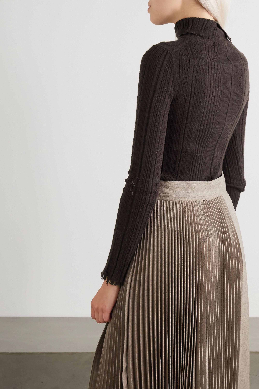 LVIR Distressed ribbed-knit turtleneck sweater