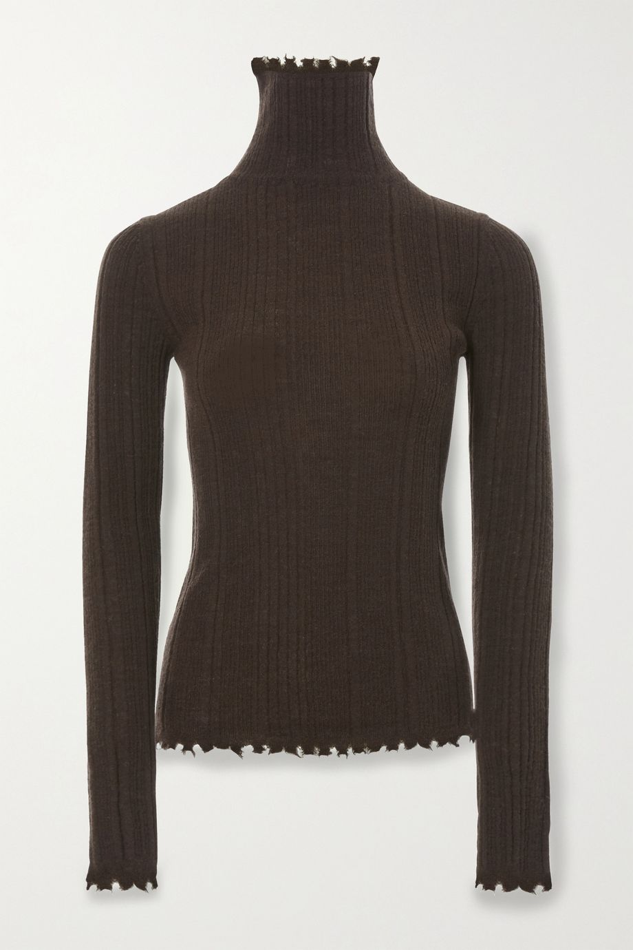 LVIR Distressed ribbed-knit turtleneck sweater