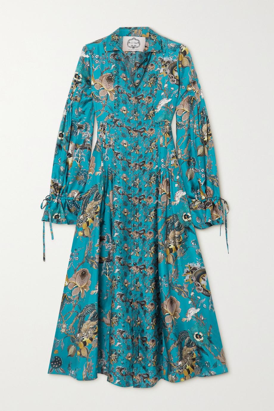 Evi Grintela Love Midi-Hemdblusenkleid aus Seiden-Twill mit Blumenprint und Raffungen