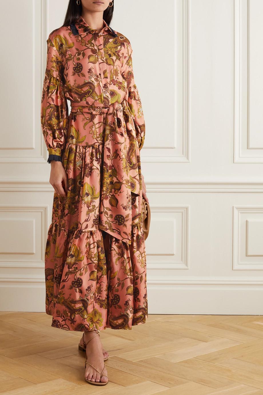Evi Grintela Greatness gestuftes Maxi-Hemdblusenkleid aus Seiden-Twill mit Spitzenbesatz und Bindegürtel