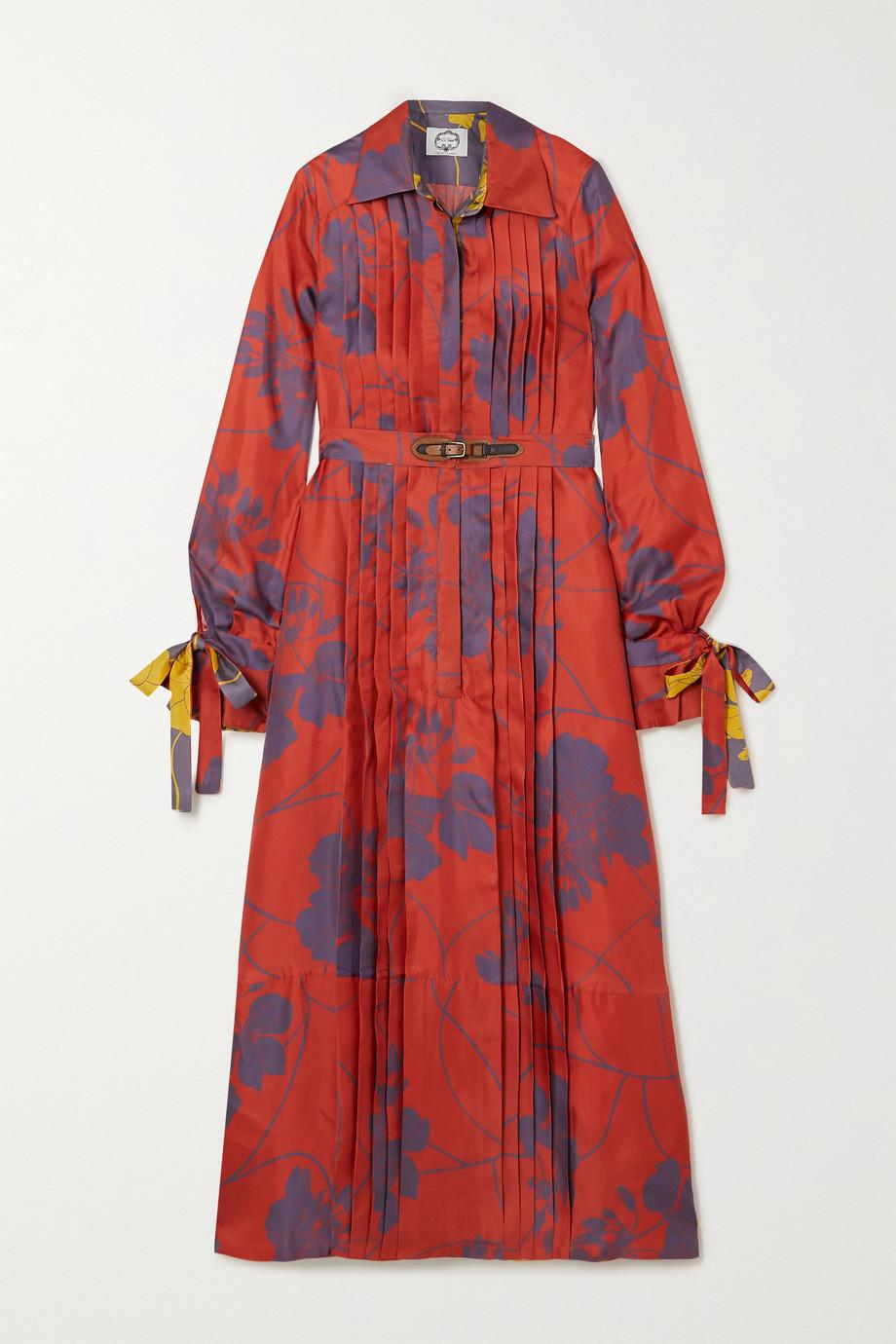 Evi Grintela Elegance Midi-Hemdblusenkleid aus Seiden-Twill mit Blumenprint, Falten und Bindegürtel
