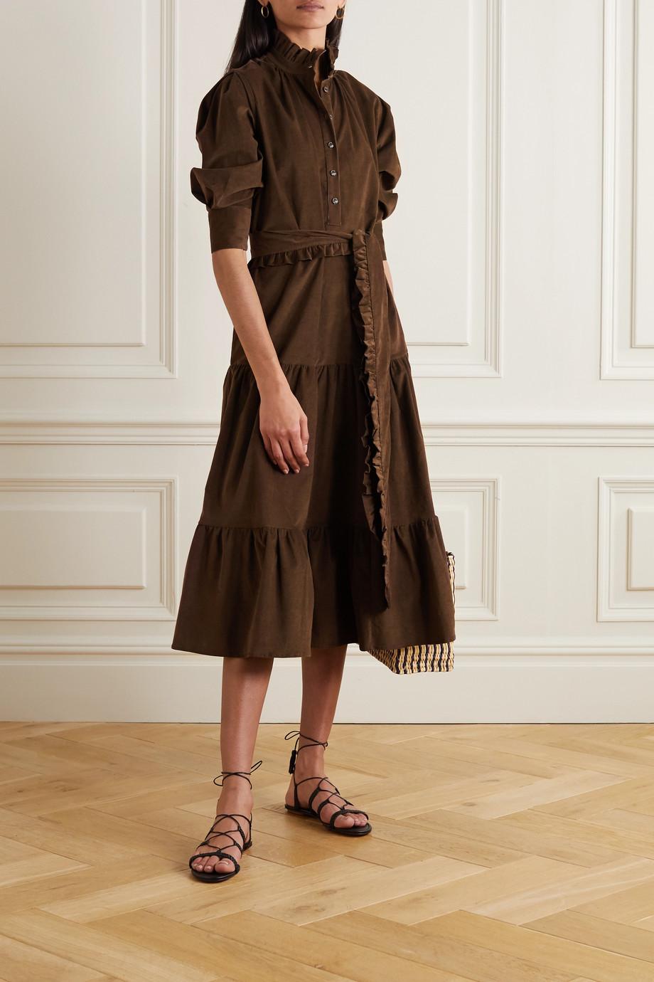 Evi Grintela Phoebe Midikleid aus Baumwollcord mit Bindegürtel