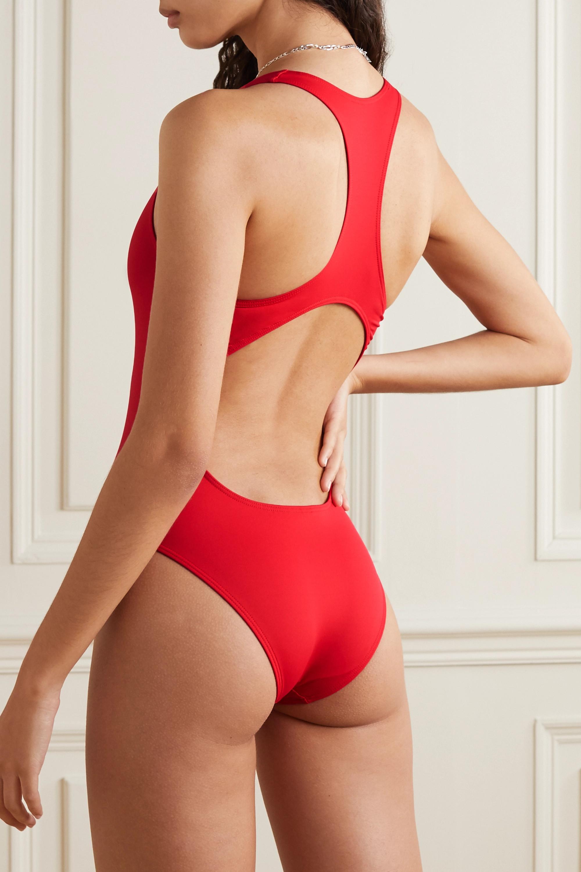 Vetements Cutout printed swimsuit