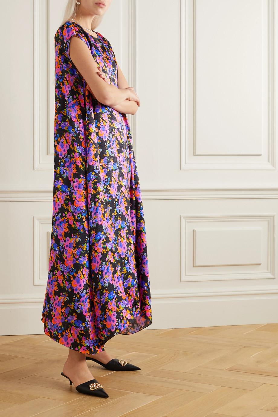 Vetements Asymmetric floral-print satin-jacquard dress