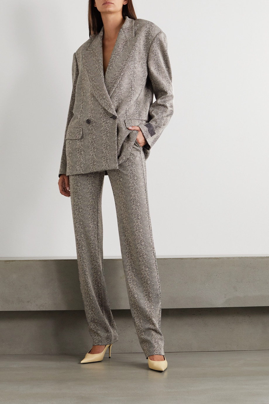 Vetements Oversized double-breasted herringbone woven blazer