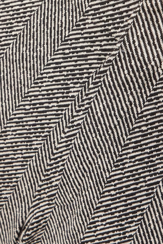 Noir Pantalon Droit Tissé À Chevrons | Vetements