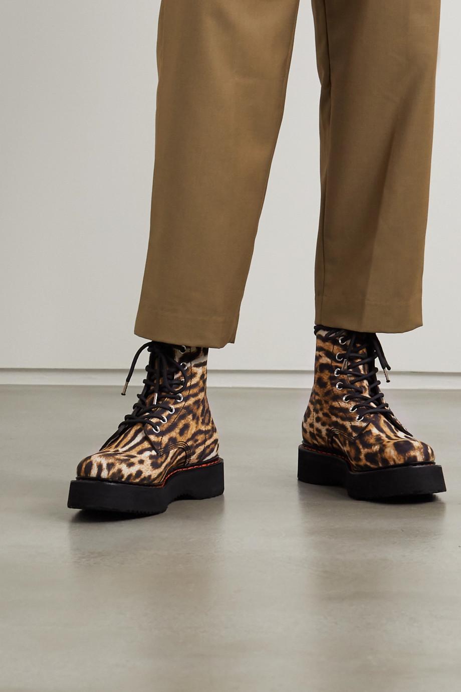 R13 Leopard-print canvas ankle boots