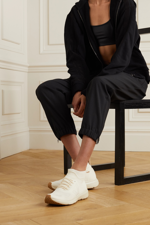 Rick Owens + Veja rubber-trimmed V-knit high-top sneakers