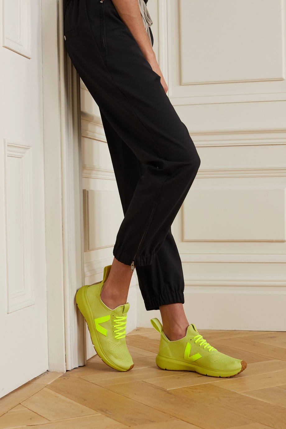 Rick Owens + Veja Sneakers aus V-Knit-Material mit Gummibesätzen