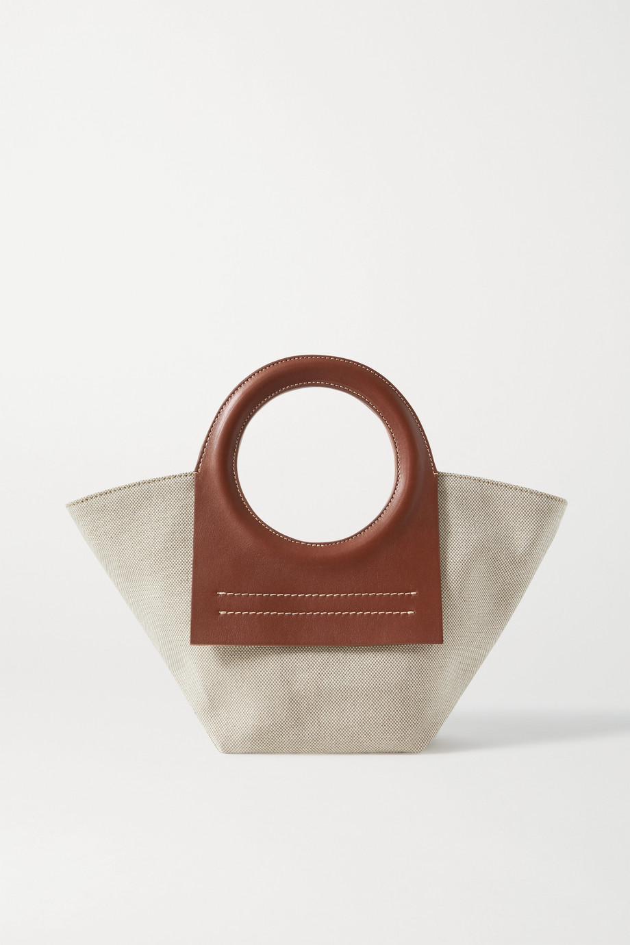HEREU Cala mini leather-trimmed canvas tote