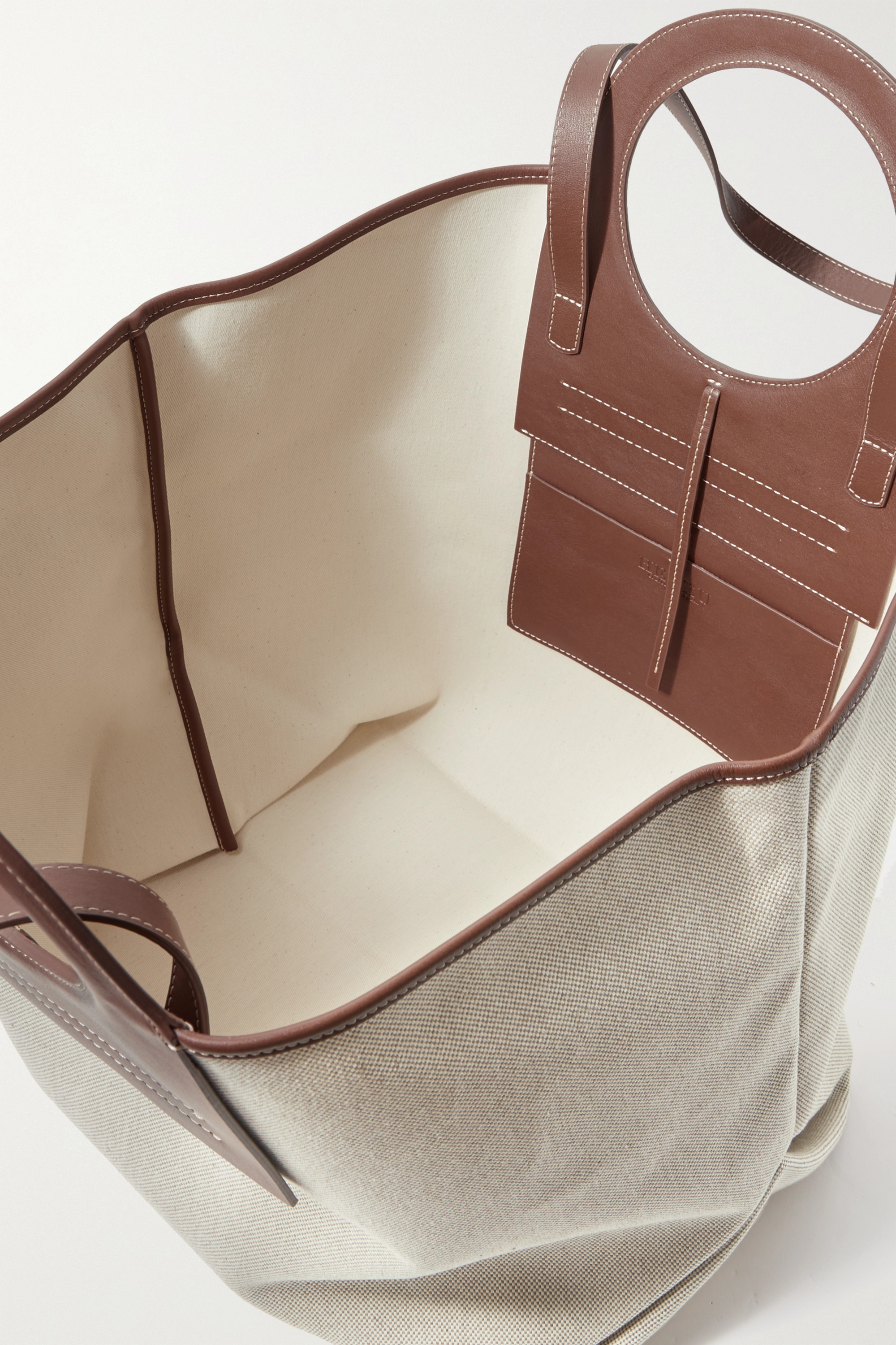 HEREU Cala large leather-trimmed canvas tote