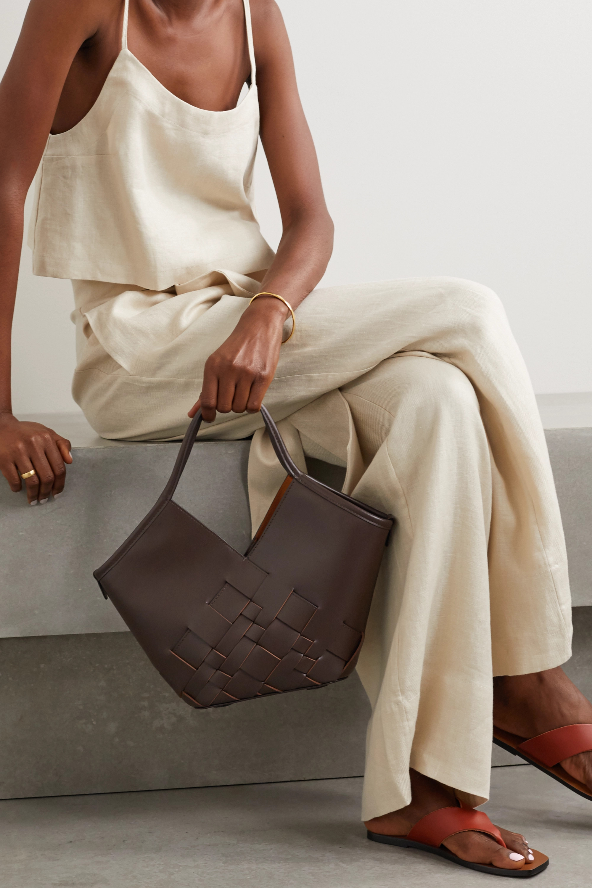 HEREU Coloma large woven leather tote