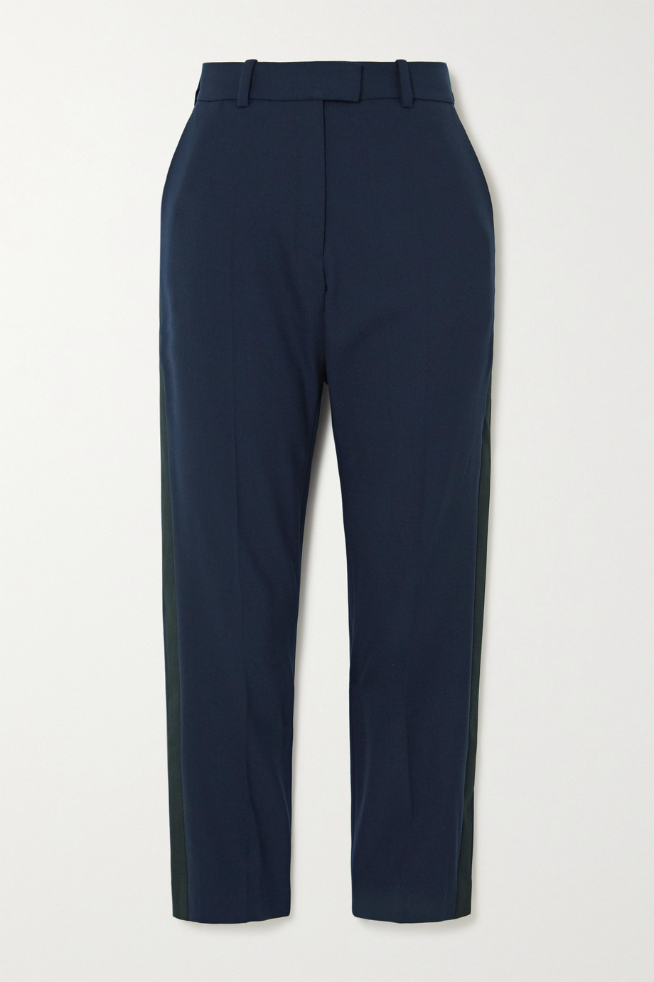 Racil Aries cropped satin-trimmed wool-blend straight-leg pants