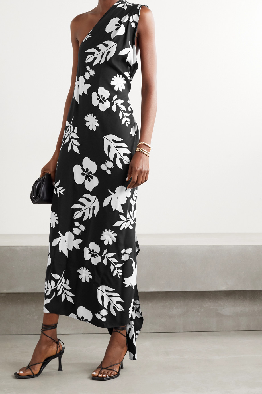 Racil Flavia embellished one-shoulder printed crepe maxi dress