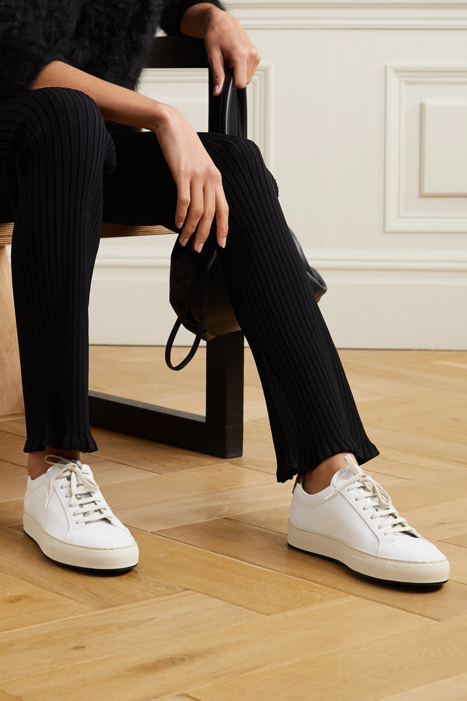 Common Projects Retro Low suede-trimmed leather sneakers