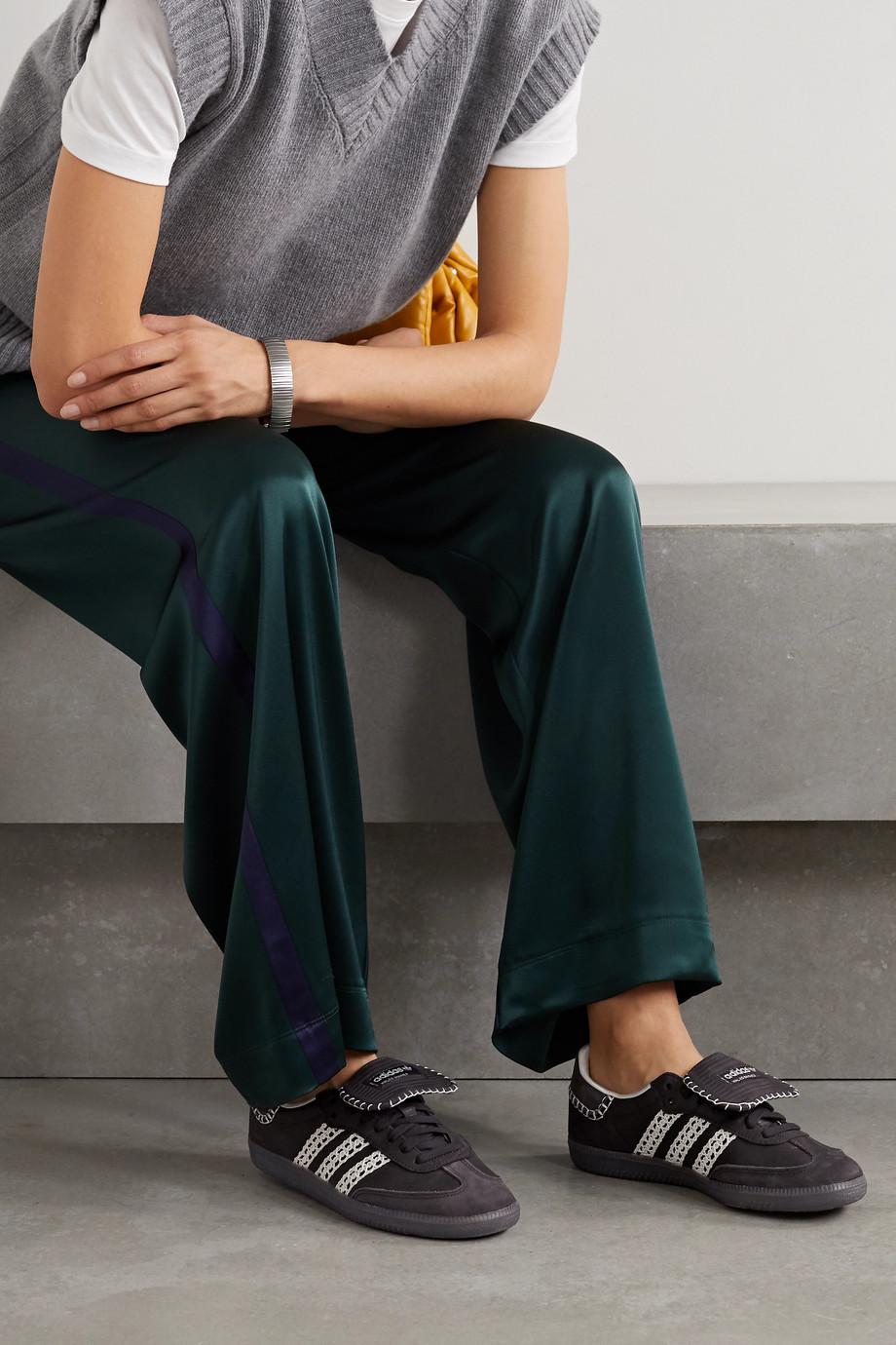 adidas Originals Baskets en cuir et en daim à finitions en crochet Samba x Wales Bonner