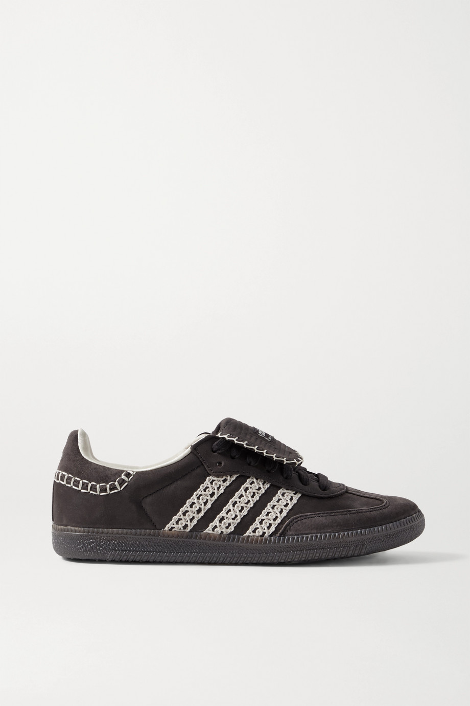 adidas Originals + Wales Bonner Samba crochet-trimmed suede and leather sneakers