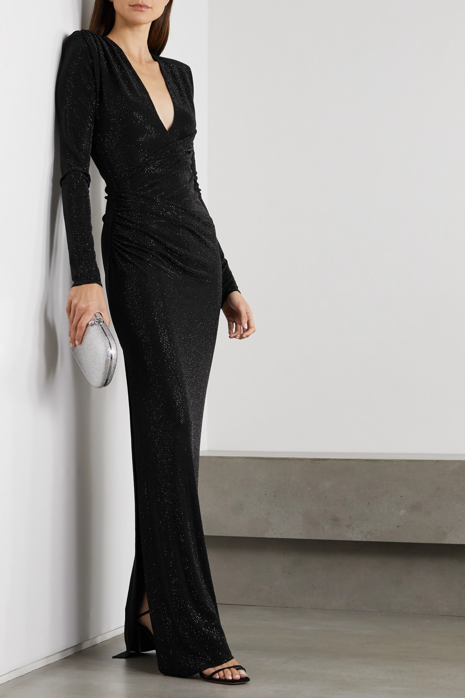 Alexandre Vauthier Ruched crystal-embellished stretch-jersey gown