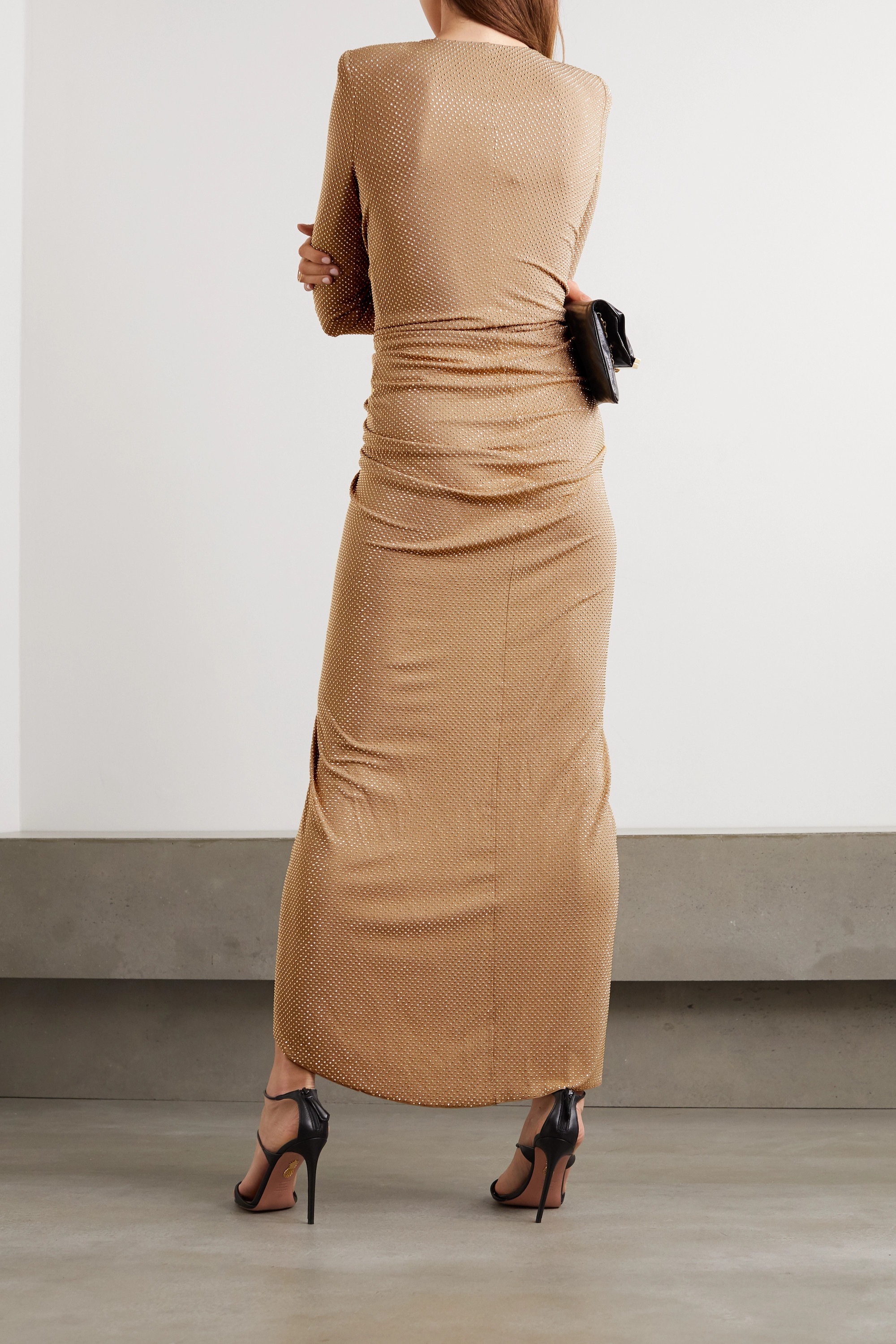 Beige Ruched Draped Crystal-embellished Stretch-jersey Gown | Alexandre Vauthier