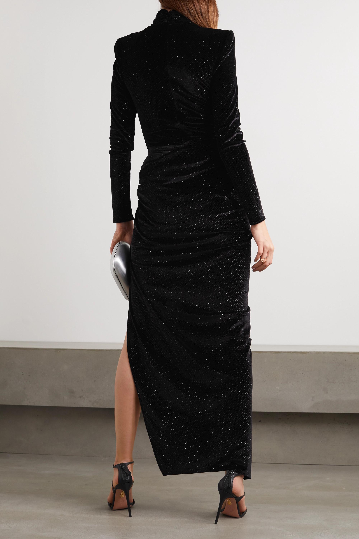Alexandre Vauthier Ruched crystal-embellished stretch-velvet turtleneck gown