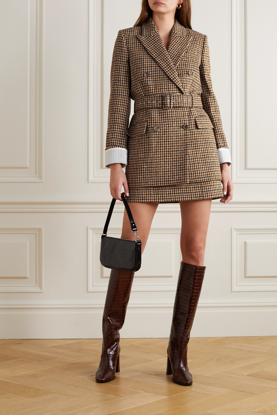 Racil Farrah belted double-breasted houndstooth wool-tweed blazer