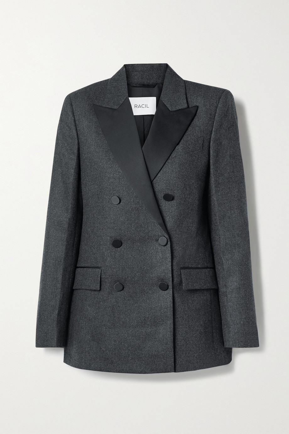 Racil Cambridge double-breasted satin-trimmed wool-blend blazer