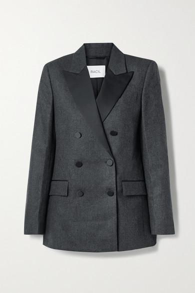 Racil - Cambridge 双排扣缎布边饰羊毛混纺西装外套 - 煤灰色 - FR36