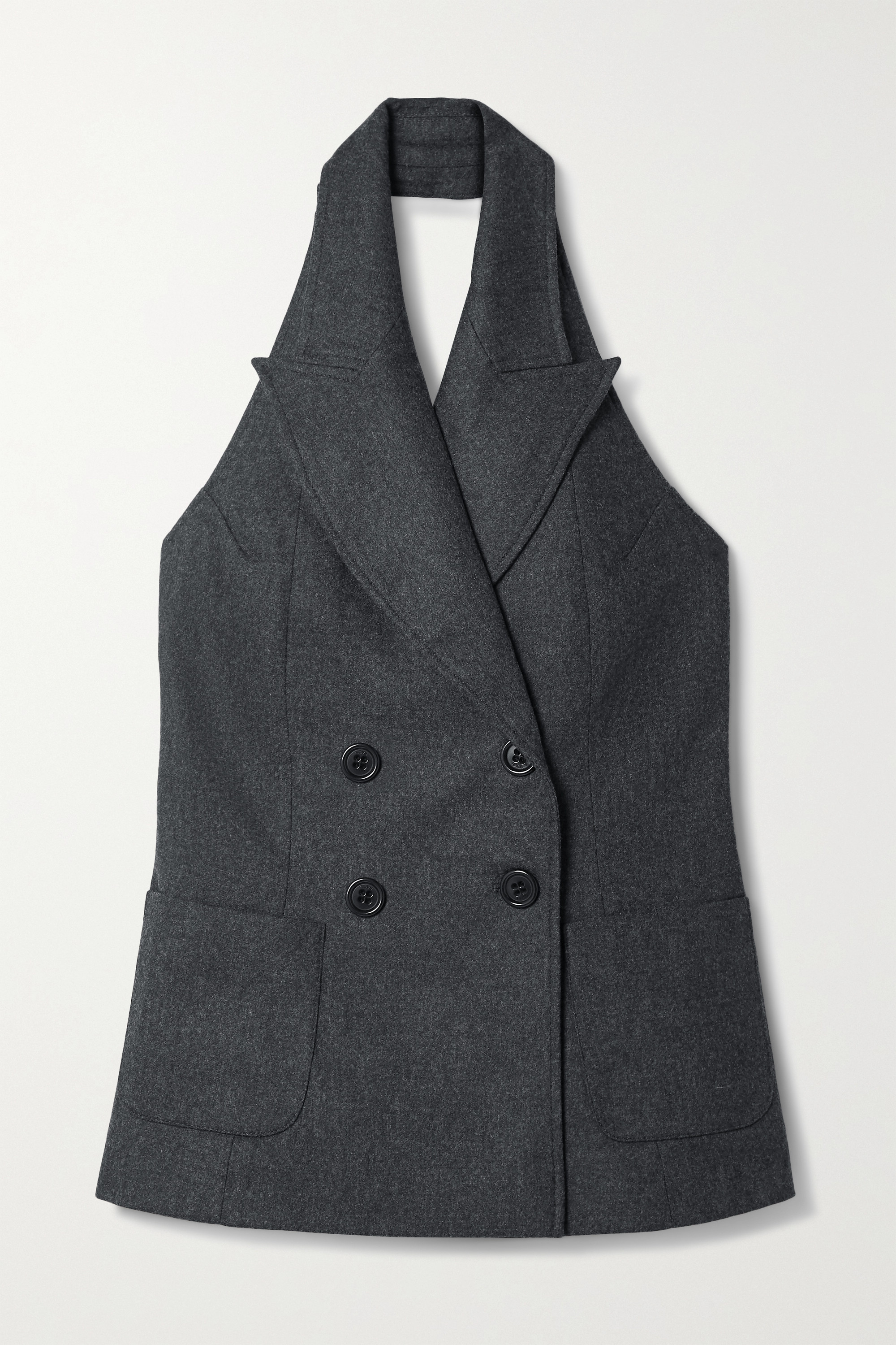 Racil Cathy double-breasted wool-blend halterneck vest
