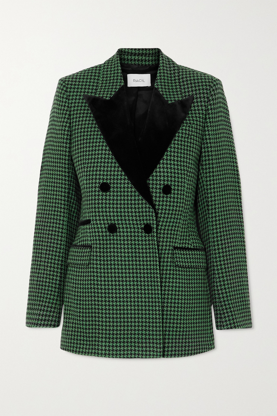 Racil Oxford double-breasted velvet-trimmed houndstooth wool-blend tweed blazer