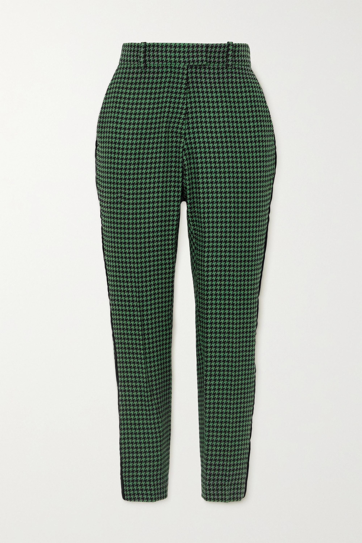 Racil Aries velvet-trimmed houndstooth wool-blend tweed slim-leg pants