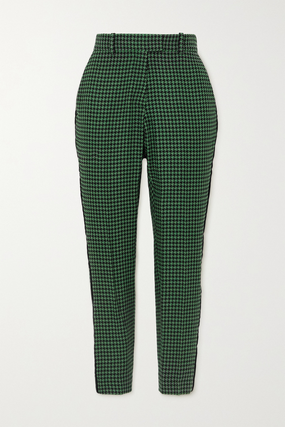 Racil Aries velvet-trimmed houndstooth wool-blend tweed slim-leg pants