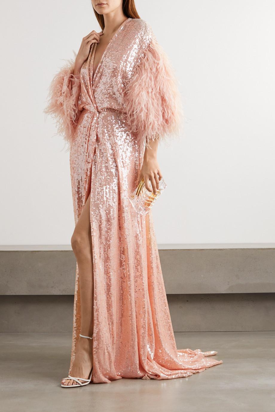 Jenny Packham Paradise Robe aus Georgette mit Pailletten und Federn