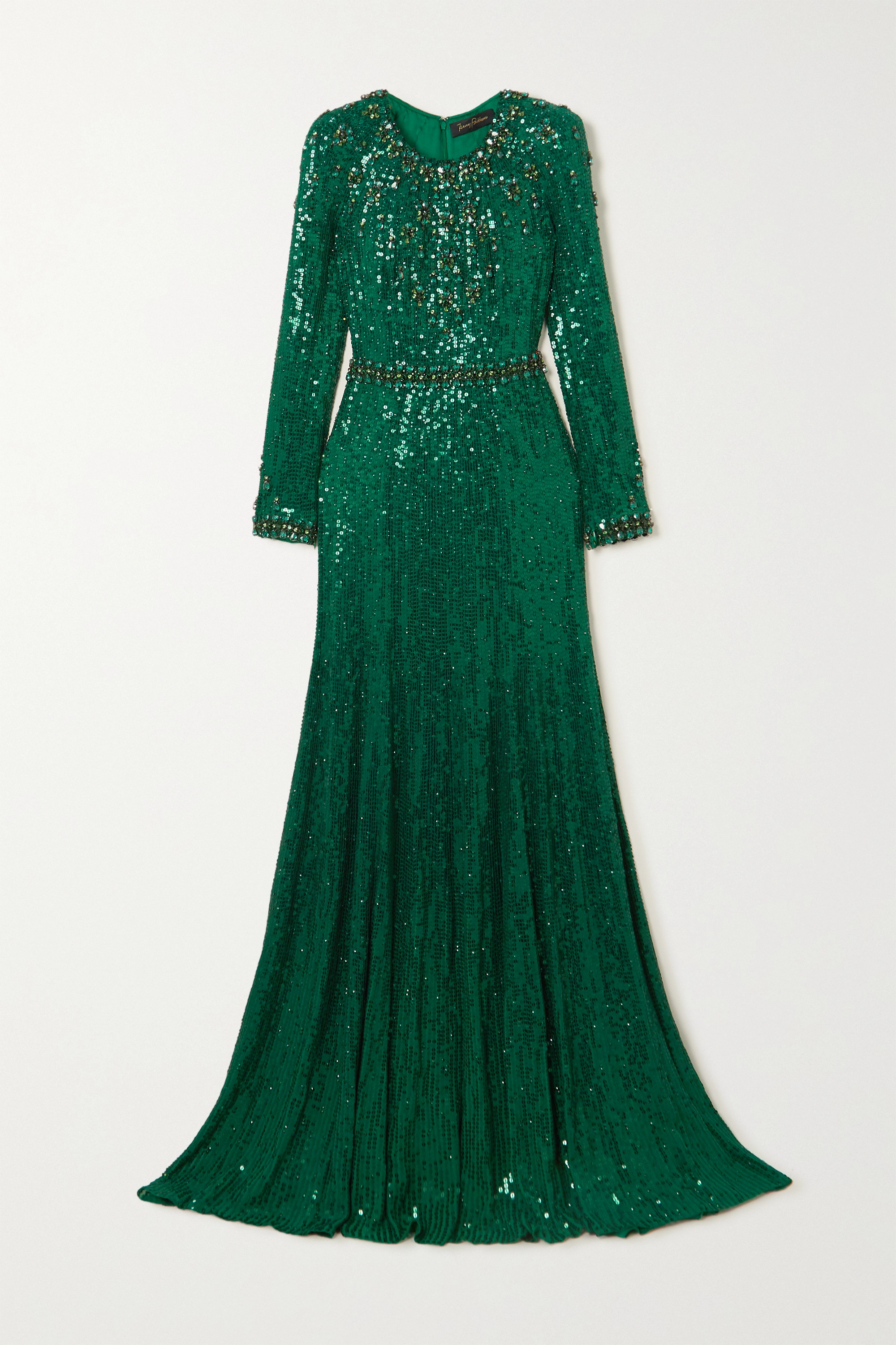 Jenny Packham Tenille Embellished Satin Gown In Forest Green
