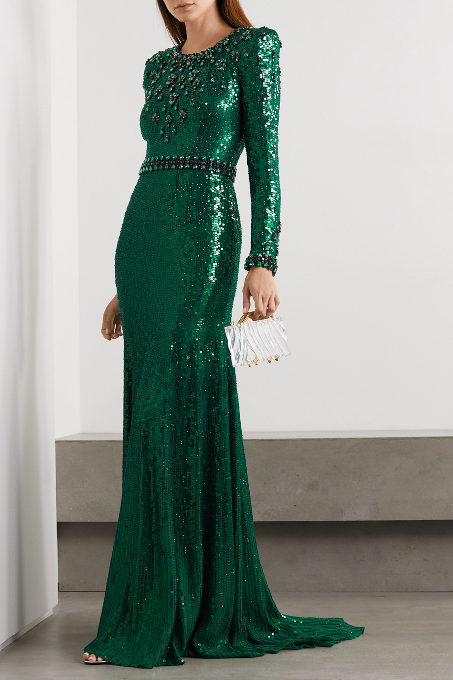 Jenny Packham Tenille embellished satin gown