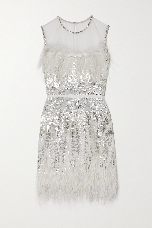 Jenny Packham Hula feather-trimmed embellished tulle mini dress