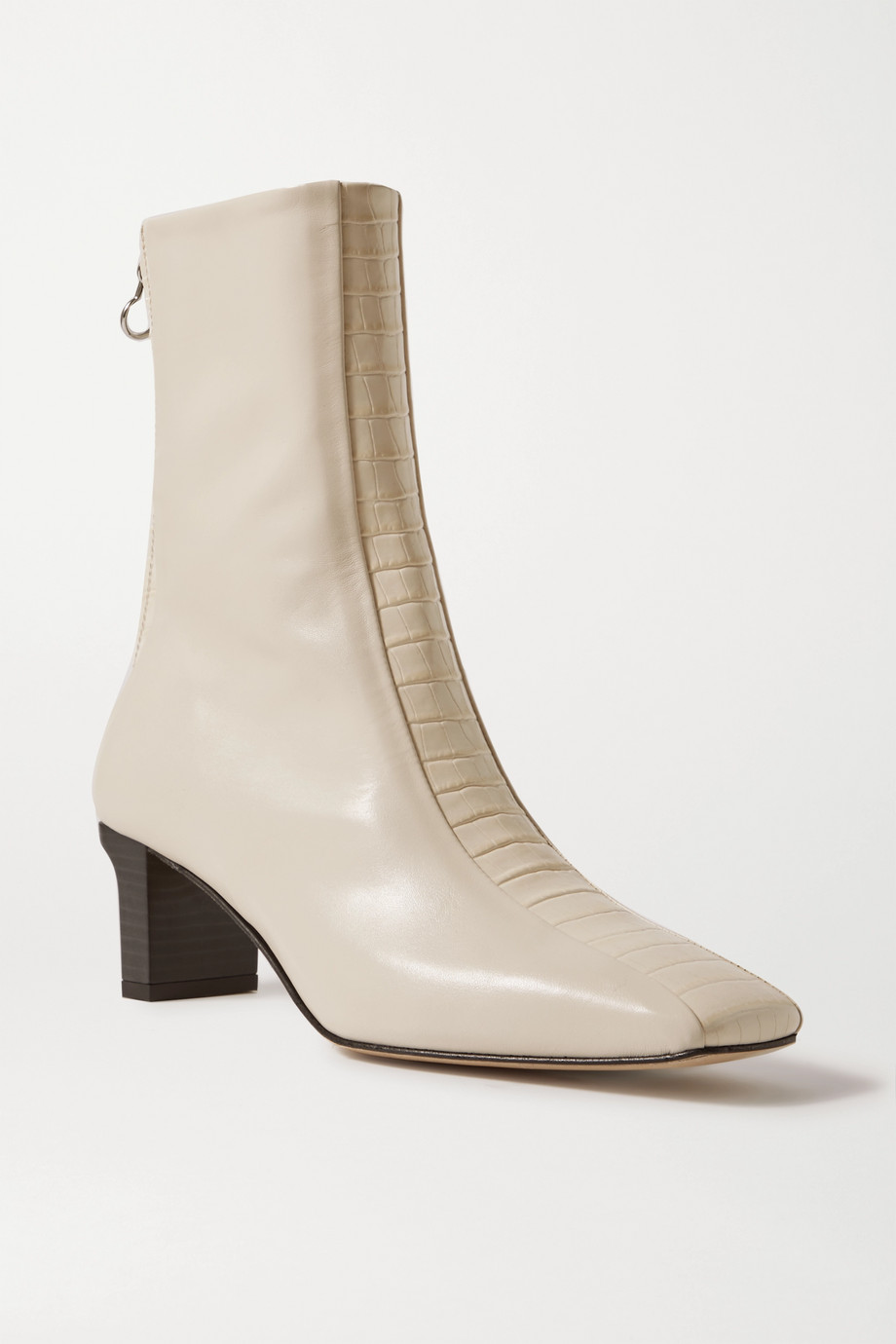 aeyde Molly paneled smooth and croc-effect leather ankle boots