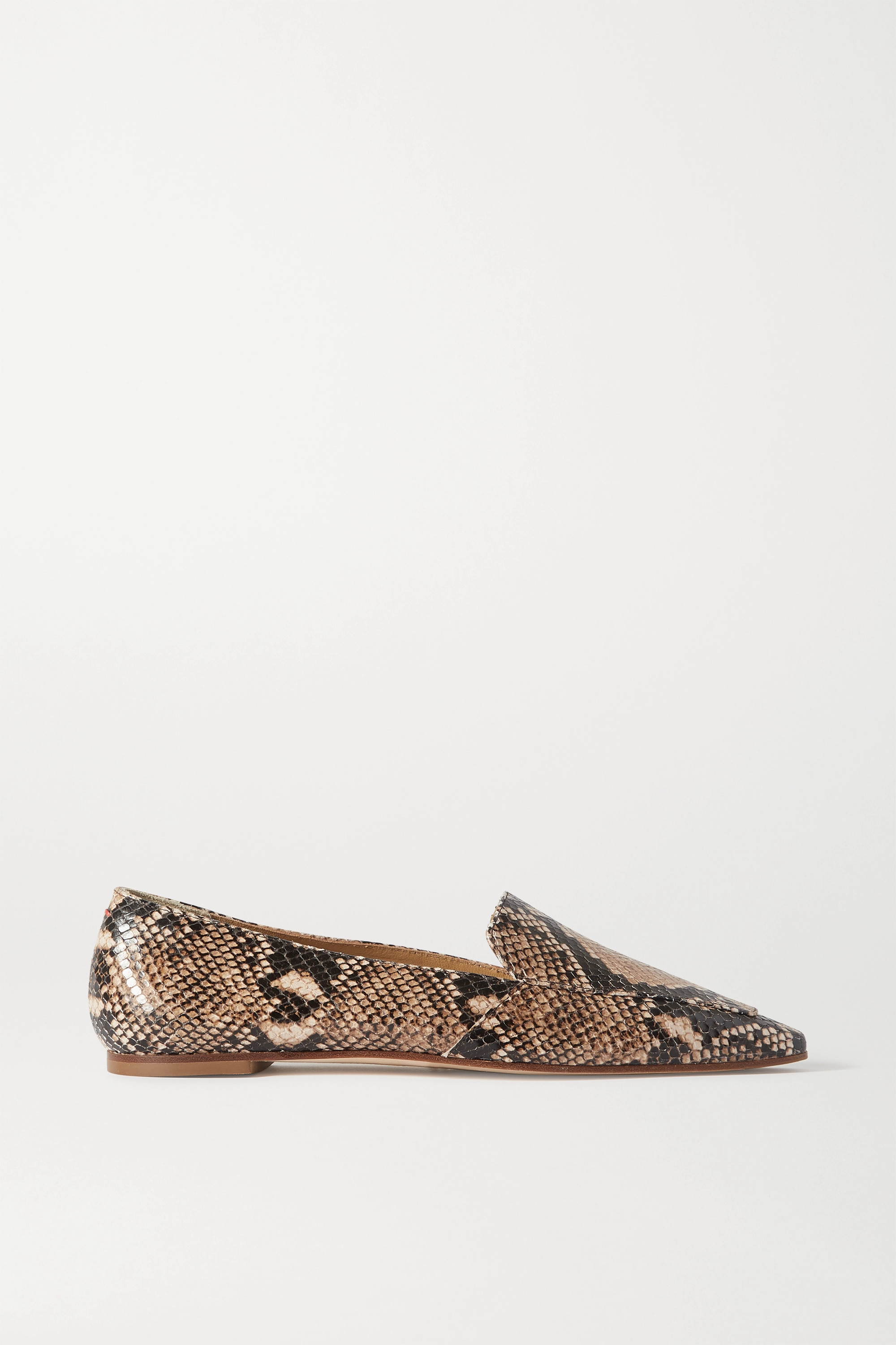 aeyde Aurora snake-effect leather loafers
