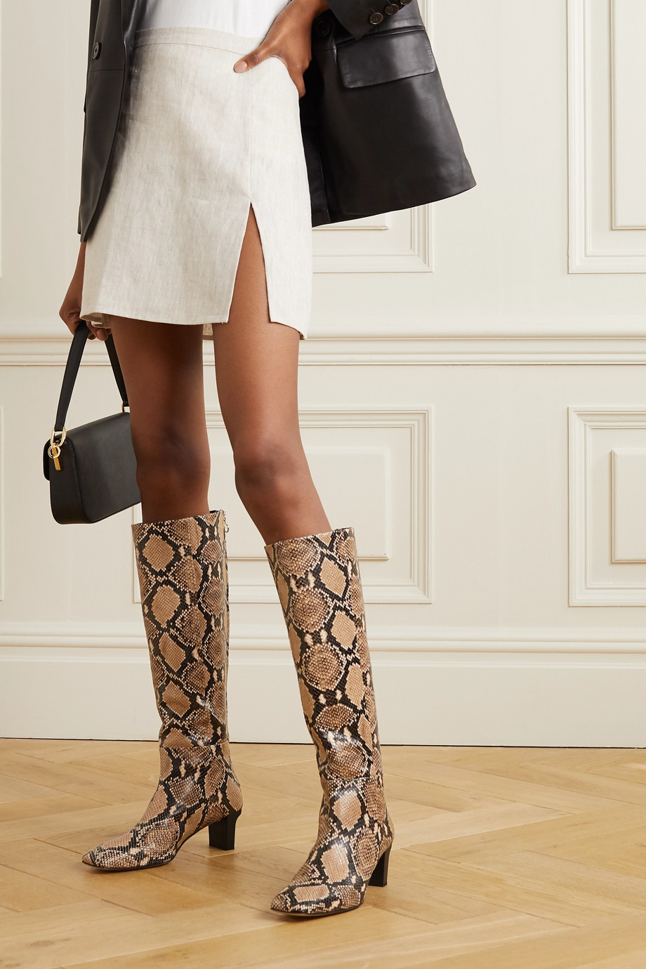 aeyde Cicely snake-effect leather knee boots