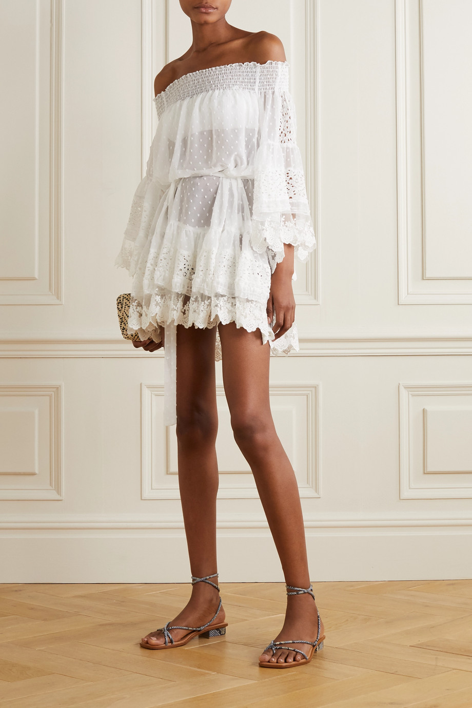 Melissa Odabash Alice off-the-shoulder lace and crochet-trimmed Swiss-dot chiffon mini dress