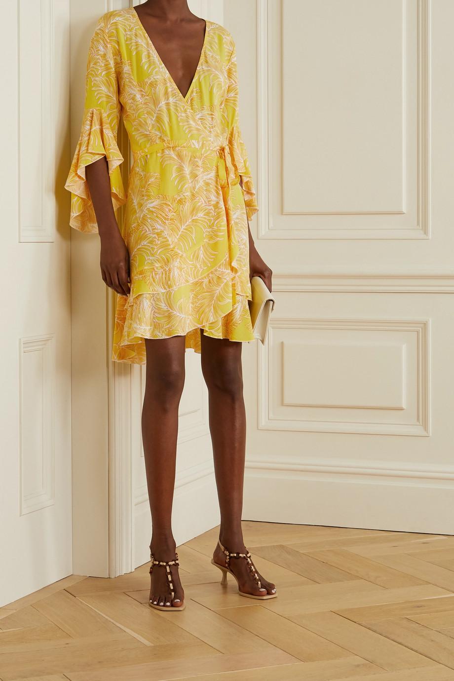 Melissa Odabash Kirsty ruffled printed voile wrap mini dress