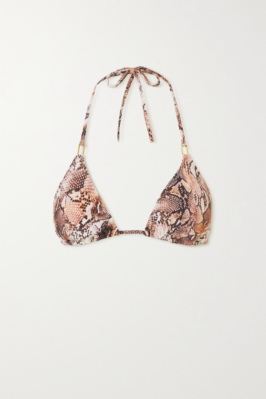 Melissa Odabash Cancun embellished snake-print triangle bikini top