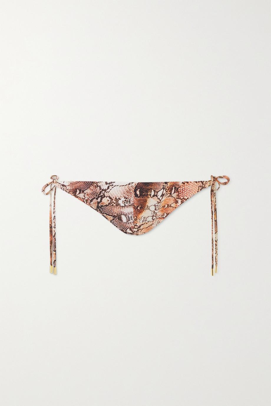 Melissa Odabash Cancun embellished snake-print bikini briefs