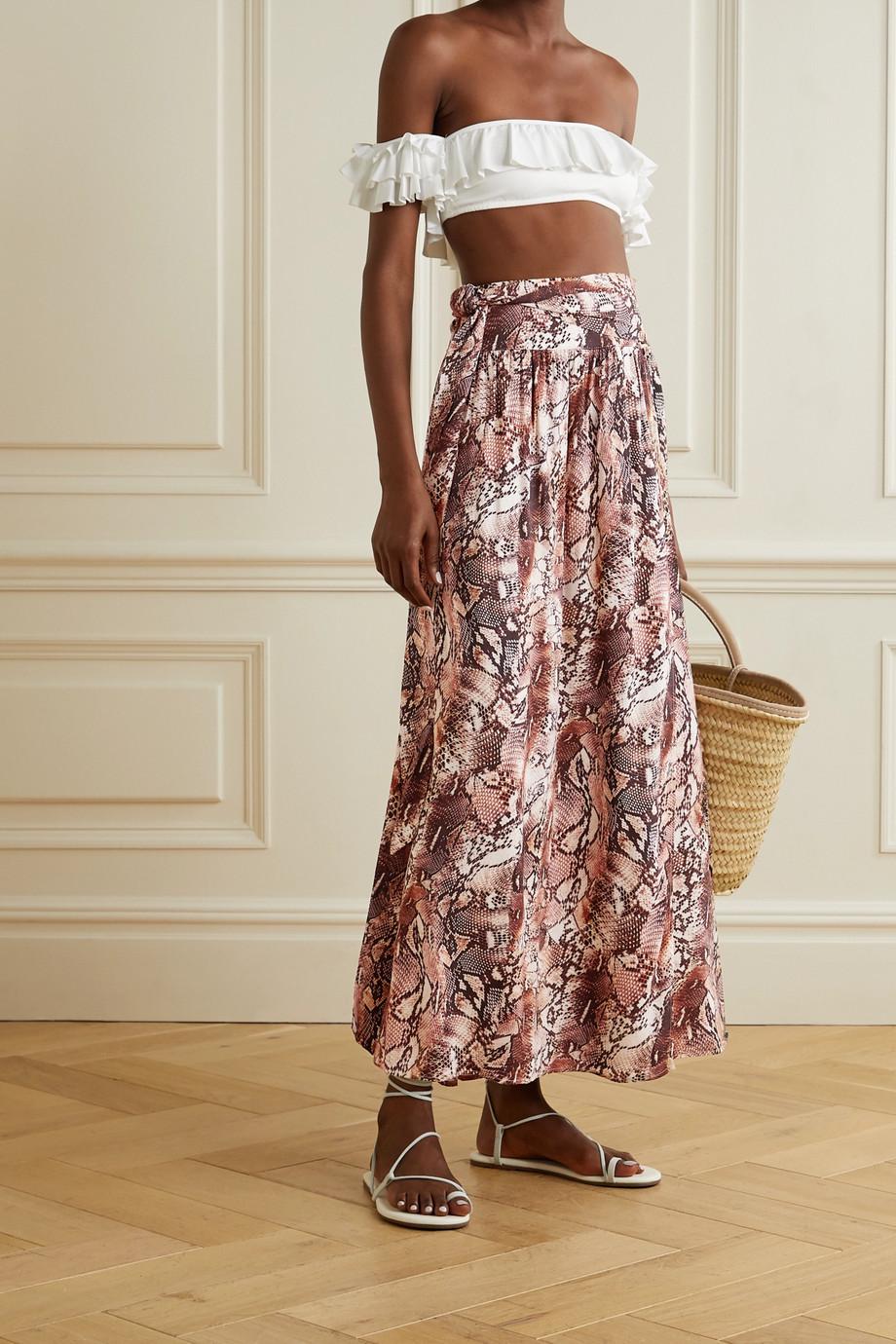 Melissa Odabash Elsa belted snake-print voile maxi skirt