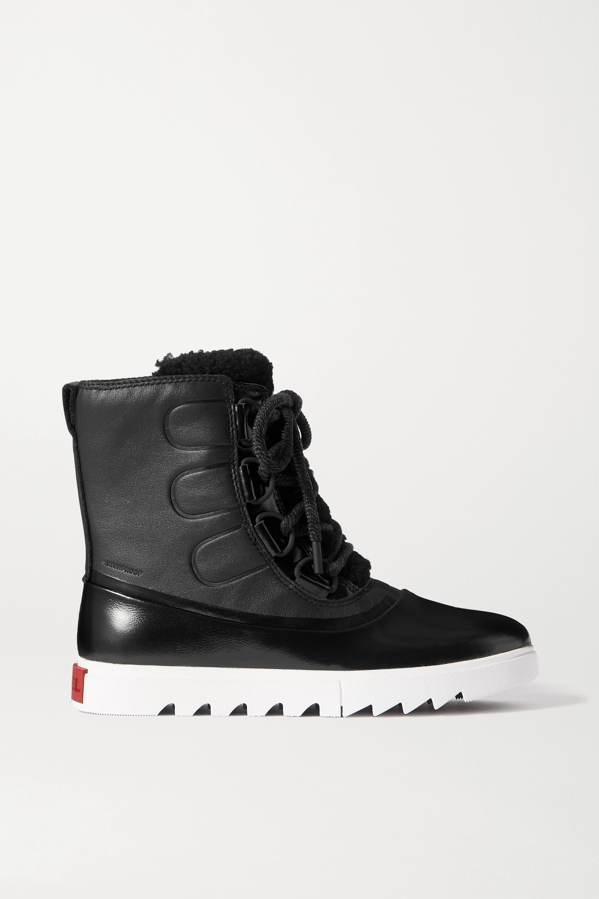SOREL Joan of Arctic NEXT LITE waterproof shearling-trimmed leather and rubber boots