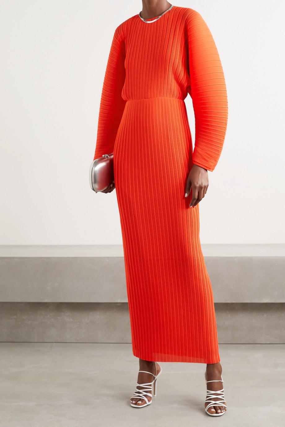 Solace London Mirabelle plissé-chiffon maxi dress